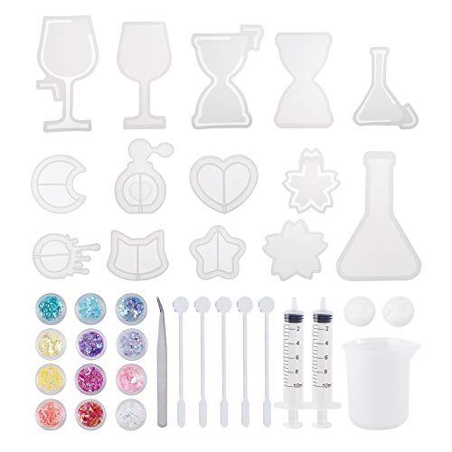 PandaHall UV Resin Moulds Kit, 10 Stück Epoxidharzformen Mit Mond, Herz, Stern, Sanduhr, Katze, Weinglas, Parfüm-Flasche, Silikonmessbecher, Dosierspritze, Pailletten, Pinzette, Rührstab