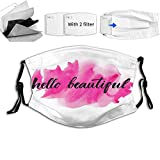 Funny Motivational Words in HLettering Calligraphic Design on Pink Reusable Face Mask Balaclava Washable Outdoor Nose Mouth Cover for Adult