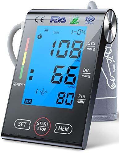Oberarm-Blutdruckmessgerät,Großes LCD-Display mit Hintergrundbeleuchtung und Gut in der Nacht Sichtbar,Digitale BP-Maschine & Pulsfrequenzüberwachung,2 Benutzermodus, Verstellbare Manschette (schwarz)
