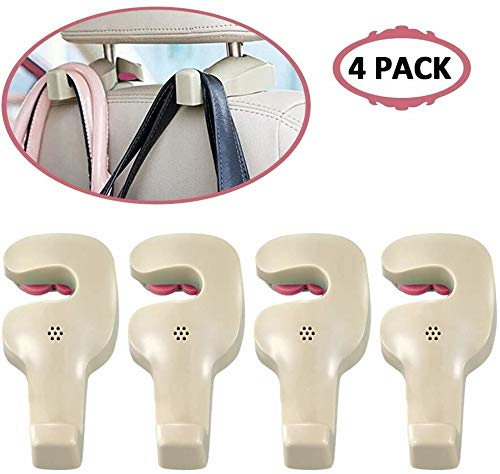 Car Back Seat Headrest Hanger Holder Hooks for Purse Grocery Bag Hat Cloth Coat Universal Vehicle Trunk Storage Organizer Heavy Duty Purse Hook Best Car Accessories for Women (Off-White 4 Pack)