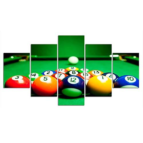 DGGDVP Cuadros enmarcados Lienzo Pintura Arte de la Pared 5 Piezas Cuadro de Tenis de Mesa Cartel de Billar para decoración del hogar tamaño 1 con Marco