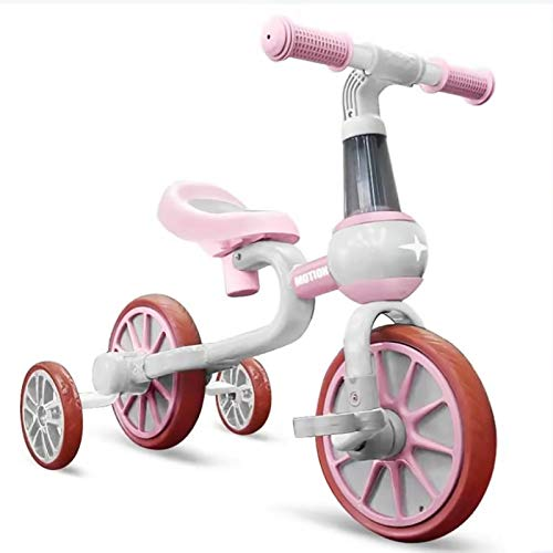 YWJPJ. 4 Ruedas Niños Balance Scooter, Bicicleta de Bicicleta de Balance Infantil con Asiento Ajustable, Dos Modelos de niños/niña Caminantes, Buen Regalo por Edad 1, 2, 3,Rosado