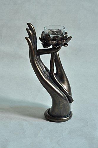 8-inch Buddha Hand with Lotus - Vitarka Mudra Candleholder Cold Cast Bronze