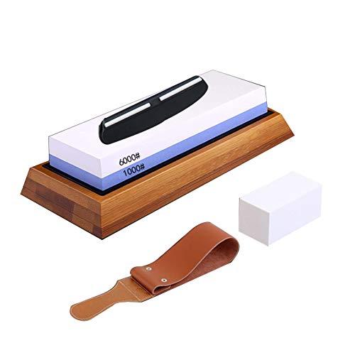 Knife whetstone,Knife Sharpening Stone Kit, stone sharpener,1000/6000water sharpening stone,Non-slip Bamboo Base, belt, flattening stone and angle guide