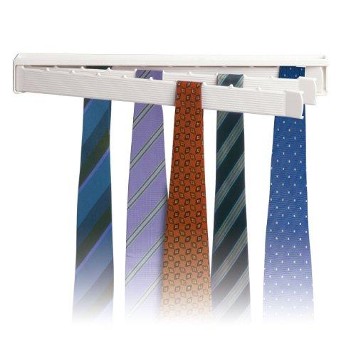 Rayen Portacravatte con capacità Massima di 30 Cravatte, ABS, Bianco, 6.29 cm