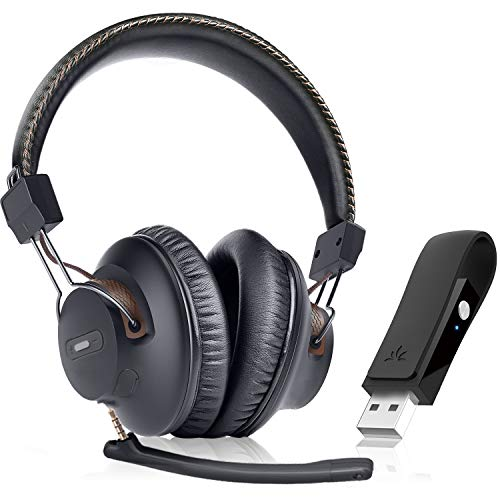 Avantree DG59(M) Plug & Play Wireless Headphones Set for PC, Laptop, Computer, PS4, PS5, Mac, Bluetooth Headset with Mic, Ideal for Music, Conference Calls, Skype & Gaming, 40hrs Play Time
