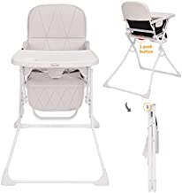 Folding Baby High Chair with Dishwasher Safe Tray, Foldable & Portable High Chair Ideal for Car Travelling, Small Apartment Gray