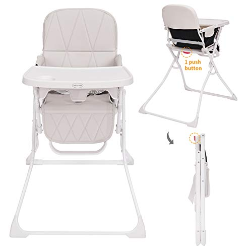 HAN-MM Baby Folding High Chair, One Click fold, Save Space, Small Apartment, Infant Chair, Removable Tray, Dishwasher Safe Tray, Car Travelling, Portable High Chair Premium Leatherette,Light Gray