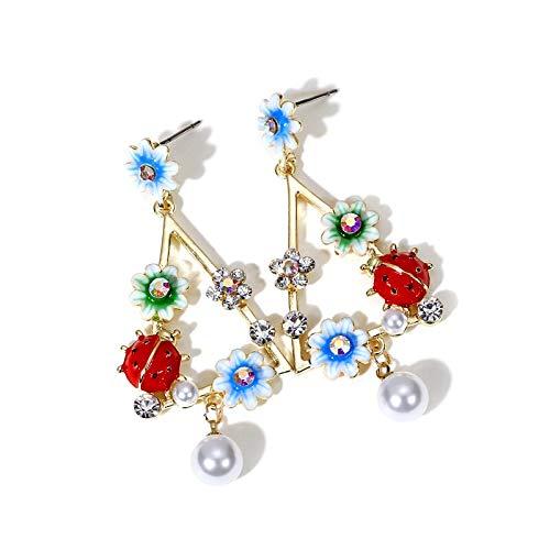 SALAN Enamel Charm Ladybug Flower Drop Earrings Trendy Women Costume Jewelry Earrings Fashion Girls Dated Earring