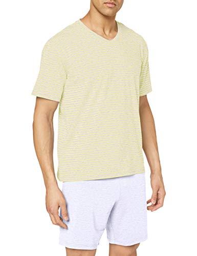 Schiesser Herren Kurz V-Ausschnitt Zweiteiliger Schlafanzug,Gelb (Gelb 600),56