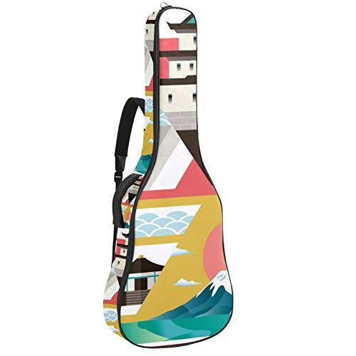 Guitar Gig Bag Waterproof Zipper Soft Guitar Backpack, Bass Acoustic & Classical Folk Electric Guitar Bag Travel To Japan Collage