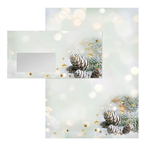 Hochwertiges Briefpapier-Set mit Weihnachtsmotiv, 50 Bögen Briefpapier DIN A4 + 50 Umschläge mit Fenster. BXF286
