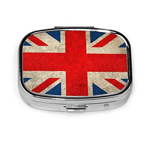 Pastillero portátil, antiguo y desgastado, diseño de bandera de la bandera de Reino Unido, contenedor de píldoras para bolso o bolsillo personalizado para viajes y uso diario