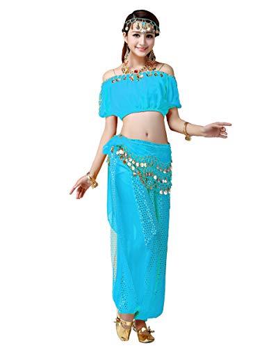Grouptap Danza araba Donne danzatrice del Ventre Bollywood India Vestito da Spalla Donna Costume da Festa Blu Vestito Arabo Fantasia per Ragazze Adulte (Blu, EU 34-38, 150-170 cm)