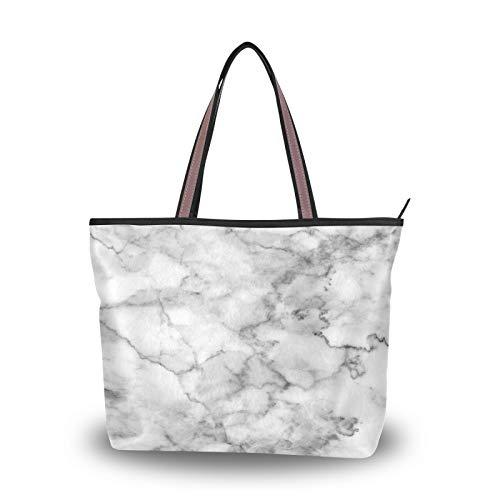 Bolsos de mano, bolso de compras, bolsos de hombro para mujeres, niñas, estudiantes, blanco, gris, mármol, bolso de mano, correa ligera