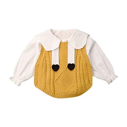 Pasgeboren Baby Meisje Lange Mouw Outfit Set Ruches Tops + Gebreide Vest Romper Herfst Winter Button Down Blouse Breien Cover Up Sweater