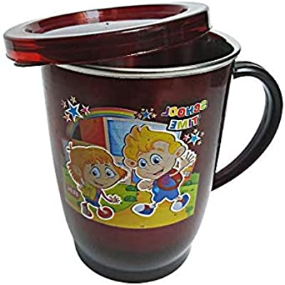 Pawan Plastic PP Kidz Sky Inner Stainless Steel Plastic Air Tight Coffee Mug Tea Cup for Children Adults Drinkware Tea Or Coffee Mug with Lid (Colours May Vary)