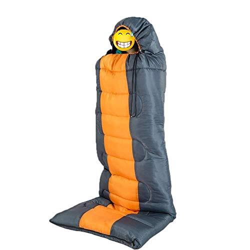 ZFFSC Thermo-slaapzak voor volwassenen, herfst, winter, omslag met dop, voor reizen, camping, waterdicht, dik, oranje, campingmateriaal, slaapzakmateriaal