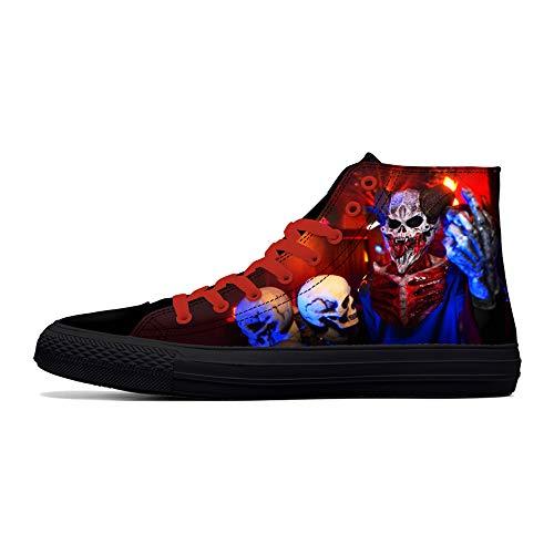PRIMERA DANCE Calavera Zapatos para Hombres Moda Zapatillas de Deporte Alta Calavera Punk Rock Joker Print Zapatos Negro Zapatos para Hombre Cool, color, talla 42 2/3 EU