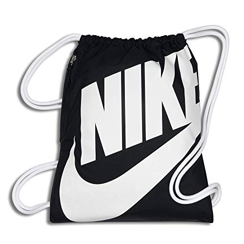 Nike Heritage Gymsack, Drawstring Backpack and Gym Bag with cinch sack closure and straps for comfort, Black/White/White