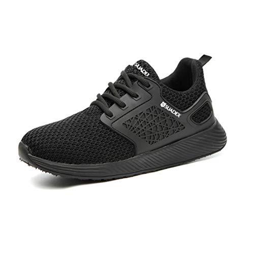 WYNZYTK WY - Zapatos de seguridad para hombre, con puntera de acero, a prueba de pinchazos, cómodos, ligeros, transpirables, para exterior, botas de construcción (color: negro, talla: 12.5 US)