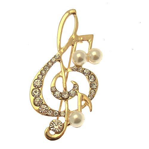 Acosta - Broche de cristal con perla en tono dorado con nota musical y clave, en caja de regalo