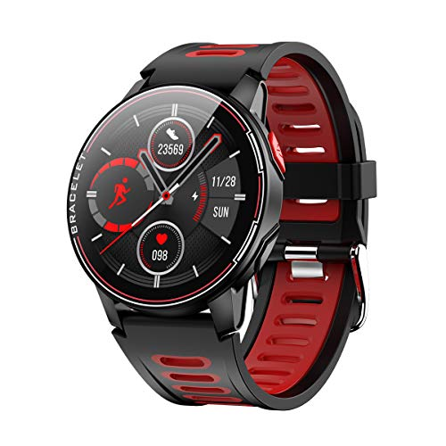 ANZQHUWAI Bluetooth Inteligente Relojes IP68 a Prueba de Agua Reloj Inteligente 5.0 rastreador de Ejercicios Smart Monitor Reloj Hombres Mujeres Reloj podómetro,Negro