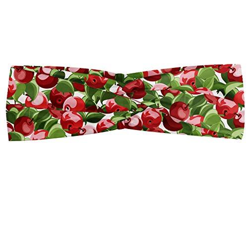 ABAKUHAUS appel Hoofdband, Organic Garden Harvest, Elastische en Zachte Bandana voor Dames, voor Sport en Dagelijks Gebruik, Rood Groen Wit