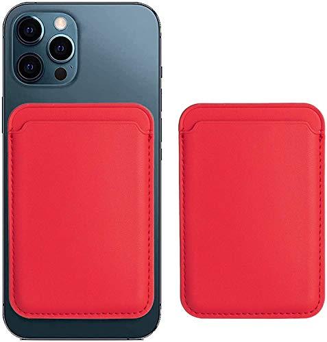 Funda de piel magnética para iPhone 12, Pro, Mini, Max con ranura para tarjetas, con RFID Mag Safe para iPhone 12, Pro, Mini, Max y tarjetero, puede contener 1 ~ 2 tarjetas (rojo)