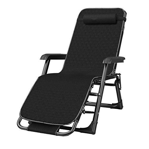 FHISD Schwerelose Stühle übergroß, Armlehnen-Innenbreite 66 cm, verstellbare Klapp-Lounge-Terrassenstühle mit Kissenliege für den Pool, Strandstütze 330 lbs (schwarz)