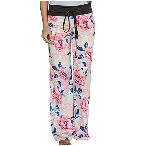 haoricu Womens Women's Comfy Casual Pajama Pants Floral Print Drawstring Yoga Lounge Pants Wide Leg White