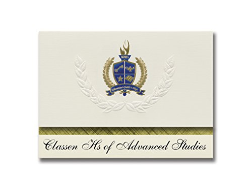 Signature Announcements Classen Hs of Advanced Studies (Oklahoma City, OK) Abschluss-Ankündigung, Presidential Elite Pack 25 mit Gold & Blau Metallic Folienversiegelung
