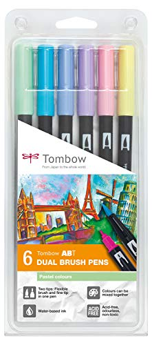 Tombow ABT–6P-2pennarelli dual Brush Pen con due punte Set di 6, colori pastello