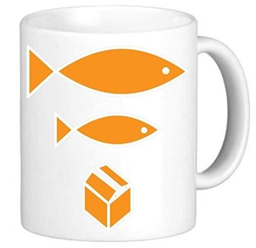 N\A Big Fish Little Fish Caja de cartón Marido Regalos para él Taza Regalo para Hermano Regalos de cumpleaños Taza inspiradora para mamá Papá Taza de café Impresionante 11 oz