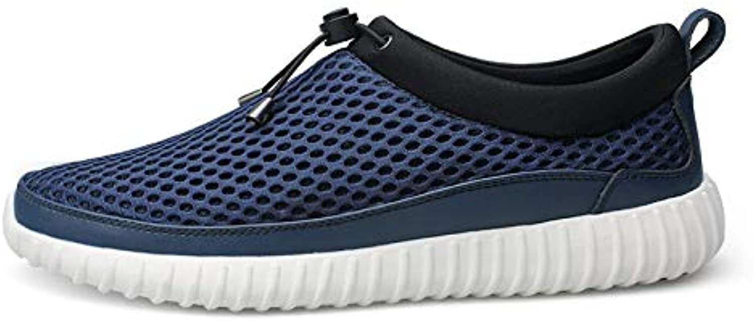 Athletic shoes for Men Sports shoes Slip On Style Mesh Material Fresh And Breathable Low Top Elastic Strap Decor Round Toe Cricket shoes (color   bluee, Size   9.5 UK)