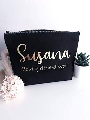Bolsa personalizada de algodón -Regalo para novia cumpleaños neceser para maquillaje