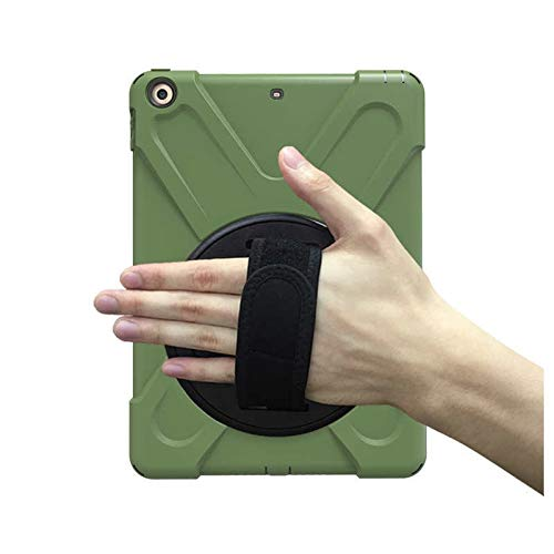 GHC PAD Cases & Covers For iPad 9.7 2017, New 360 Armor Case 360 Rotation Hand Strap Silicon PVC A1822 A1823 Kids Cover for iPad 2017 9.7 (Color : Ary Green)