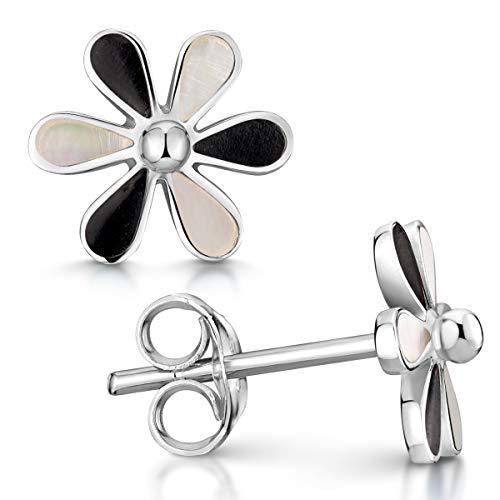 MATERIA 925 plata pendientes Nácar flor en blanco o negro - pendientes Nácar en forma de flor ø10mm incluye estuche para joyas #SO-162