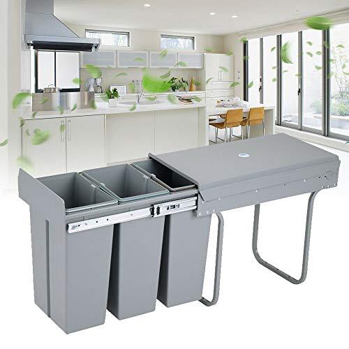Cubo de basura de suspensión para puerta de armario de cocina, cubo de basura de cocina con tapa, sistema de eliminación de residuos integrado, cubo de basura empotrable 3 x 10 L