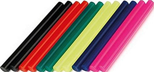 Dremel GG05 - Barras de cola de color multiusos, pack de 12 barras de 7 mm negro, rojo, verde, amarillo, azul y rosa para pistola de silicona caliente para decorar madera, plástico, cerámica, textil
