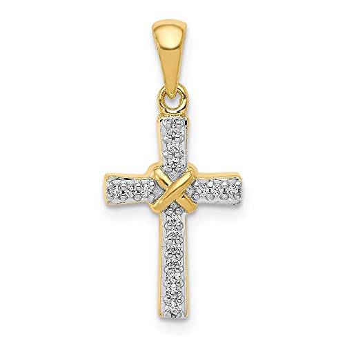 14ct Yellow Gold and Rhodium Plated 1/6 cttw Diamond Latin Cross Pendant