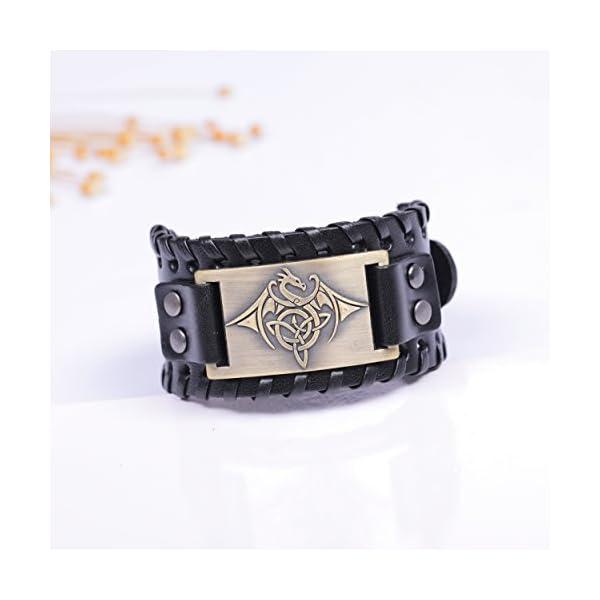 TEAMER Celtic Trinity Knot Leather Bracelet for Men 3