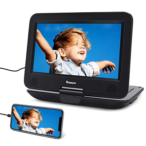 NAVISKAUTO 10.1' Portable DVD Player with HDMI Input, Built-in Rechargeable Battery, AV in/Out, Support CD/DVD/USB, Car Headrest Mount Included