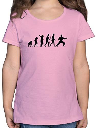 Evolution Kind - Kampfsport Evolution - 128 (7/8 Jahre) - Rosa - Kickbox t Shirt Kinder - F131K - Mädchen Kinder T-Shirt
