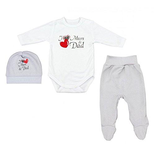 TupTam Baby Unisex Bekleidungsset mit Aufdruck 3 TLG, Farbe: I Love Mum and Dad Grau, Größe: 62