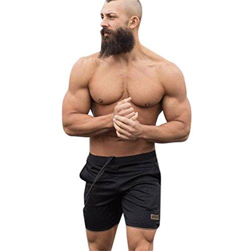 Un Pantalon Homme, YanHoo® Hommes Mode Sport Formation Musculation Shorts D'été Plage Pantalons de Survêtement Lingerie Garçons D'entraînement Fitness GYM Pantalon Court Été (XL, Or gold)