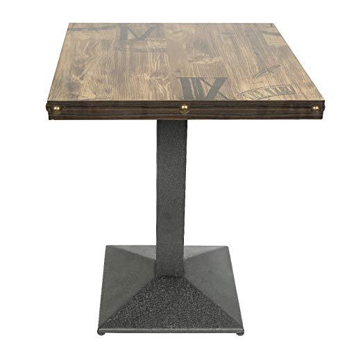 Table de Bar, Table à Manger, Table carrée, 60 * 60 * 75cm, Style Industriel, Planche de Bois + Pieds en Fer, Charge maximale 120KG