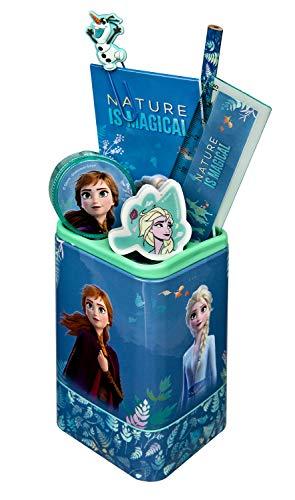 Undercover FRUW5522 Köcher, Disney Frozen II, Stiftehalter gefüllt mit viel Zubehör, ca. 24,5 x 14 x 7 cm, 7 teilig