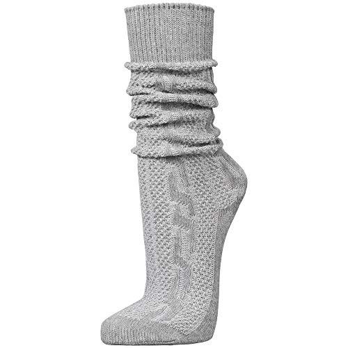 PAULGOS Trachtensocken Trachtenstrümpfe Socken Kniestrümpfe mit Zopfmuster in 3 Farben Gr. 39-47, Schuhgröße:44, Farbe:Grau
