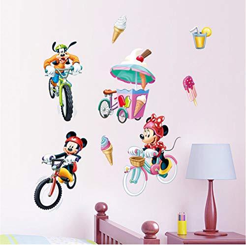 Dessin Animé Mickey Minnie Goofy Monter Vélo Stickers Muraux Chambre Chambre D'Enfant Décor À La Maison Disney Stickers Muraux Pvc Peinture Murale Bricolage Affiches 40X60Cm